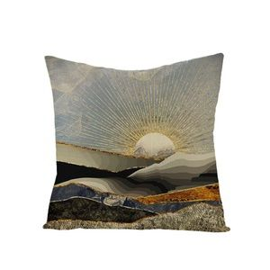 NWT pillow cover 18x17 Sunrise cotton linen metall